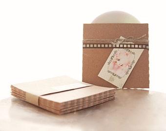 Recycled Kraft CD Sleeves- Set of 10  | wedding cd sleeve, kraft envelope, cd cover, wedding songs favor, photography packaging