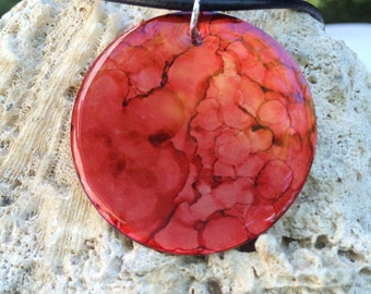 Alcohol Ink Shade of Red Necklace
