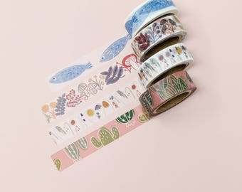 Washi Tape Set (All 4 or Select 4 designs) | Japanese Washi Tape, Masking Tape, Paper Tape, Stationery, Washi Tape Sale, OEM Masking Tape