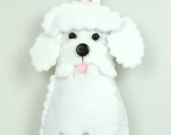 Felt Bichon Frise, A button nosed Bichon poking his tongue out , Handmade Twig Tree Decoration, Dog Lovers Gift, Postable, Cute dog