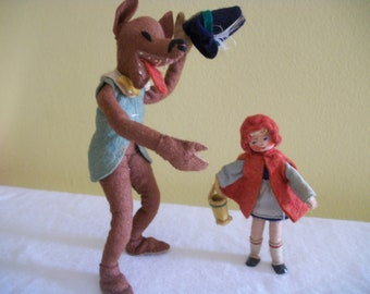 Baps Amazing 1950s German Story Book Felt Dolls -- Little Red Riding Hood and Big Bad Wolf