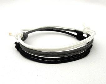 Paracord Bracelet Men Bracelet Black bracelet Cord Bracelet Rope bracelet Surfer Bracelet Custom bracelet Simple Bracelet mens gift gray