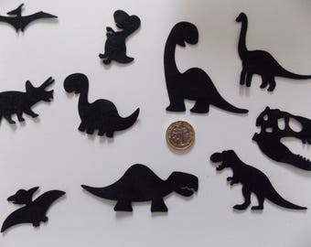 10/11 Felt Die Cut Dinosaur Shapes/Embellishments/Toppers -sewing/craft card making -Prehistoric/Jurassic Dino