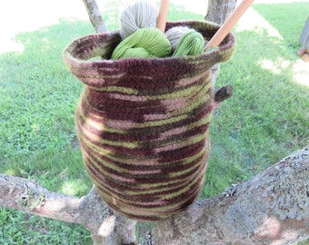 Felted Tote Bag - Hand Crocheted Felted Round Brown and Green Storage Tote - Stash Basket