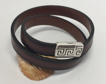 Dark brown leather double wrap bracelet with magnet clasp