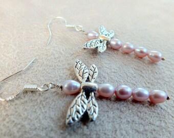 Dragonfly Pearl Earrings. Sterling Silver Earrings. Dragonflies. Freshwater Pale Pink Pearl Earrings