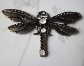 x 1 large rhinestone white 73 x 42 mm antique bronze Dragonfly pendant