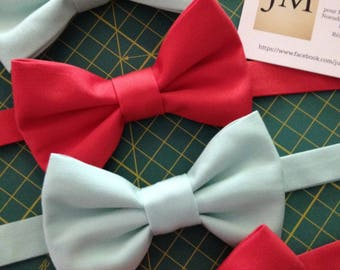Bow tie cotton double thick coral or sea green