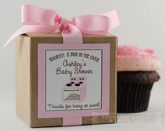 A BUN in the OVEN...One Dozen (12) Personalized Cupcake Mix Baby Shower Favors