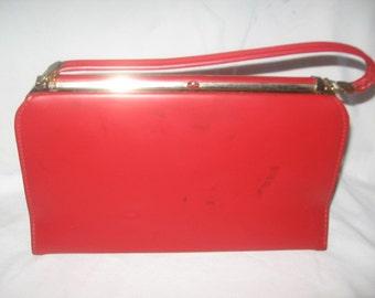 Spilene Fire Red Leather Handbag/Red Leather Handbags/Spilene Purses/Handbags/Retro Handbags/Vintage Handbags-Purses