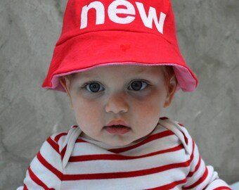 New - Upcycled Sun Hat / Bucket Hat, Reversible Sun Hat, Baby Sun Hat