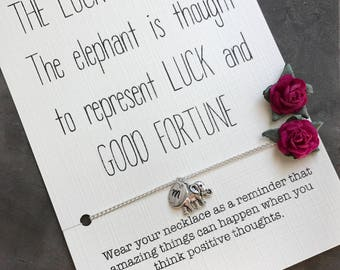 Elephant NECKLACE, Best friend necklace, Good luck charm, Good luck elephant, Monogram necklace, Karma necklace, Good luck, A62