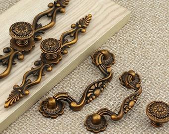 """3"""" 3.75"""" 5"""" 6.3"""" Dresser Knobs Pulls Drawer Knob Pull Handles Antique Brass Kitchen Cabinet Handles Knobs Door Handle 76 96 128 160 mm"""