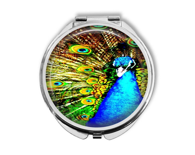 Peacock Compact Mirror Pocket Mirror Large Gifts for her