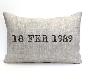 "wedding gift, engagement pillow, christmas gift, date pillow, anniversary gift, wedding shower gift, valentine - ""The Date"""