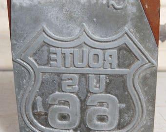 Print Block ROUTE 66, Shield, Vintage Advertising, Wood Metal, Letterpress Printing Block