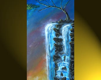 MISTY WATERFALL -Original Art Acrylic Landscape Painting Waterfall Artwork on Canvas Scenic Wall Art by NormsArtRoom 10x20
