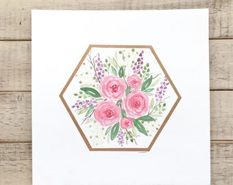 Watercolor Florals in Gold Leaf Hexagon