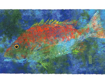 "Limited Edtion Reproduction of ""Mutton Snapper"" Gyotaku"