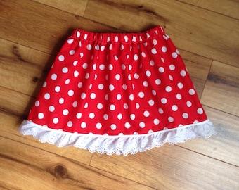 Red White Polka Dot Minnie Skirt
