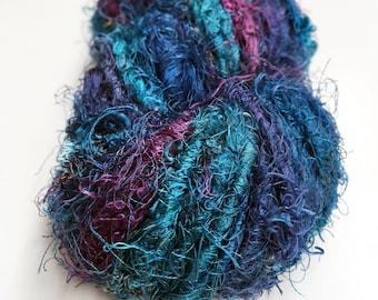 Recycled Sari Silk Yarn Hank - Teal, blue & purples
