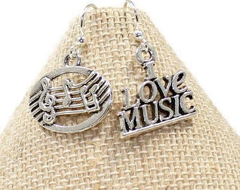 Music Earrings, I Love Music Earrings, Music Lover Gift, Music Jewelry, Music Gifts, Musician Earrings, Musician Gifts, Music Teacher Gifts