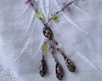 Vintage gemstone cloisonne necklace