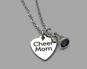 Cheer Mom Necklace, Cheer Charm Necklace, Cheer Mom Jewelry, Cheerleader Necklace, Cheerleader Charm, Cheer Jewelry, Cheerleader Jewelry