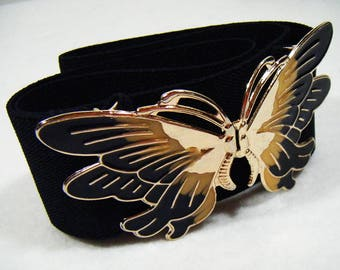 Vintage 80's Black Butterfly Elastic Belt
