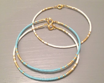 Bridesmaid Gift Tiny Beaded Bracelet Dainty Jewelry Something Blue Bracelet