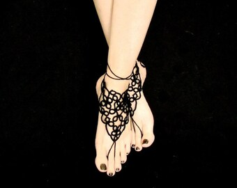 Tatted Barefoot Sandals - Four Scrolls