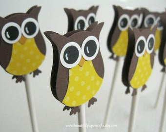 Owl Cupcake Toppers- Owl Baby Shower Decorations--Set of 12