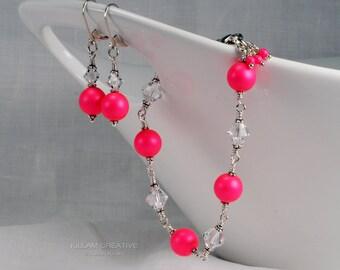 Neon Pink Swarovski Bracelet, Swarovski Pearls and Crystal, Sterling Silver Bracelet, Earrings Set