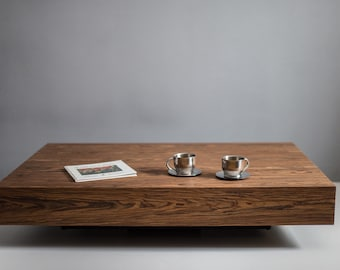 Modern low profile square coffee table