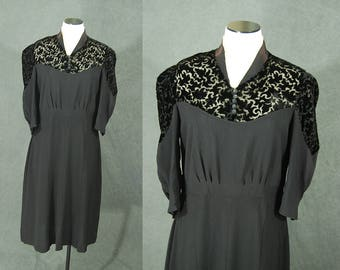 vintage 30s 40s Dress - Burnout Velvet and Rayon Dress Sz M L