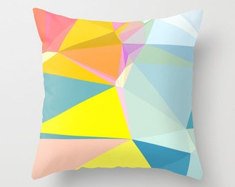 Pastel Geometric Throw Pillow Cover, Yellow and Blue Pillow Cover, Pillow Covers Decorative, 20x20 Pillow Cover, Modern Throw Pillows