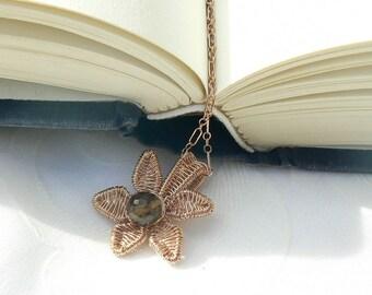 Whiskey Quartz/Rose Gold Filled Lotus Flower Pendant