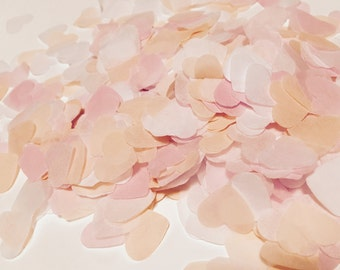 Pink, peach and white heart wedding confetti - biodegradable
