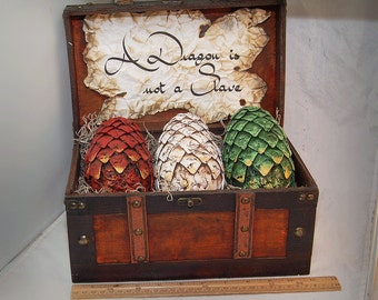 LARGE Game Of Thrones Inspired, fantasy, Dragon Eggs With Chest, Khalessi, Mother of Dragons, gift, GOT, dragons, Hobbit, Pern, Home Decor