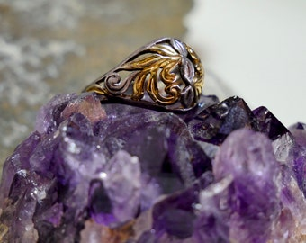 Silver and Gold Vermeil Filigree Ring