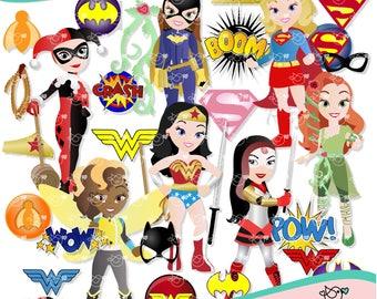 Super Hero Girls Clipart instant download PNG file - 300 dpi
