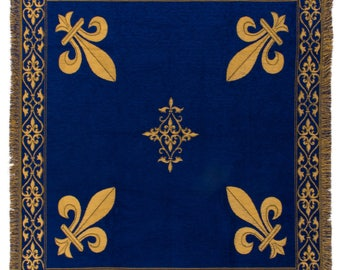 Fleur de Lis tapestry throw - French Decor Throw - 56x56 Belgian Tapestry Throw -  blue chenille throw blanket - TT-07103/33