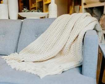 HOMEWARE SALE THE Nantucket - Fisherman - ***ready to ship*** // Chunky Knit Wool Throw Blanket Afghan