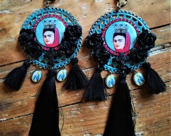 "Great pair of earrings from the ""i Love Frida Kahlo Lady"" series. unique hand made."