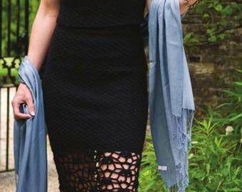 Garden Party - la petite robe noire en twin set - patron digital d'un semble jupe et top au crochet