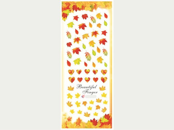 Fall leaves nail water decals/ Maple leaves nail stickers/ Autumn ...