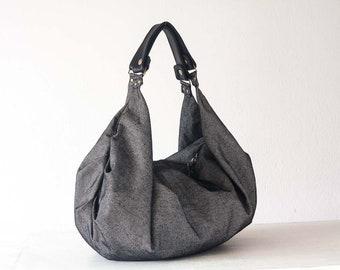 SALES Large hobo bag in grey cotton and black leather, shoulder purse carryall bag oversized purse everyday bag-Kallia bag
