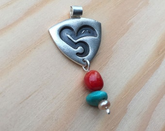 """CLEARANCE Silver pendant """"She"""" with turquoise, coral and pearl, Arabic calligraphy"""