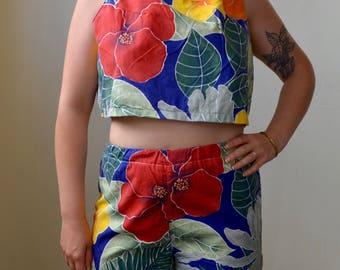 Brightly colored tropical print shorts and tank set- S/M