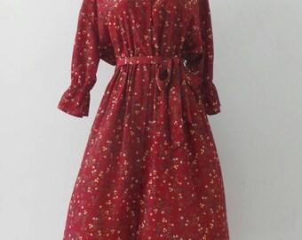 Vintage Red Dress / puff sleeve / Floral Dress / Japanese Vintage Dress
